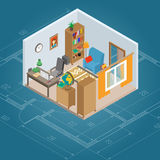 Isometric Cabinet Interior Royalty Free Stock Photography
