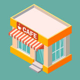 Isometric cafe building isolated on a white background. Building icon in the isometric projection. Vector illustration Royalty Free Stock Image