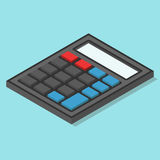Isometric calculator on blue Royalty Free Stock Image