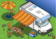 Isometric camper in camping in front view stock illustration