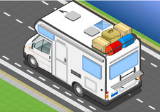 Isometric camper in rear view stock illustration