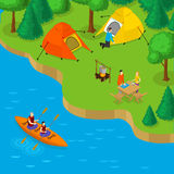 Isometric Camping And Active Recreation Concept. With people placing tents in forest and couple in boat on river vector illustration Stock Photography