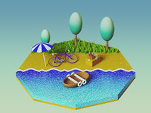 Isometric camping on the beach Stock Image