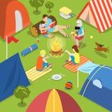 Isometric camping bonfire picnic family lifestyle Royalty Free Stock Image