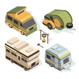Isometric camping cars. Vector pictures isolate on white royalty free illustration