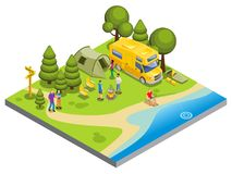Isometric Camping Concept. With people cooking food walking fishing tent travel bus chairs sleeping bags trees river isolated vector illustration stock illustration
