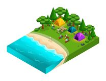 Isometric of camping, friends on vacation, fresh air, picnic, on the nature, forest, sea, beach, shore of the lake, river bank, ca. Mp site, kayak. Weekend with vector illustration