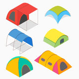 Isometric camping tents vector illustration. Royalty Free Stock Image
