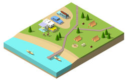 Isometric camping vector illustration Stock Image