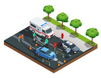 Isometric Car Accidents Composition vector illustration