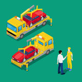 Isometric Car Assistance. Roadside Assistance Car. Tow Truck Stock Photo