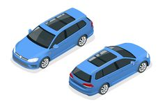 Free Isometric Car Blue Hatchback 5-door Icon. Car Template On White Background. Hatchback Isolated. Royalty Free Stock Photos - 163374748