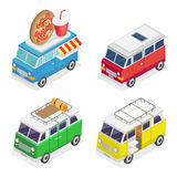 Isometric Car. Food Truck. Family Camper. Isometric Transportation. Vector illustration royalty free illustration