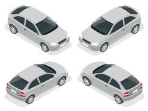 Isometric car. Hatchback car. Flat 3d vector high quality city transport icon set. Stock Photo