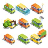 Isometric Car Insurance Set. With transport and tires theft accident truck damaged by natural disasters hooliganism isolated vector illustration Royalty Free Stock Photo