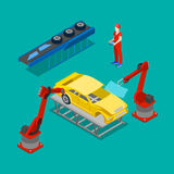 Isometric Car Production. Assembly Line in Factory. Isometric Car Production. Assembly Line of Car in Automobile Factory. Vector illustration Stock Image