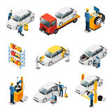 Isometric Car Repair Services Set Stock Photo