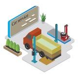 Isometric car service composition, vector illustration. stock illustration