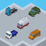 Isometric Car Set Of Armored, Truck, Lorry And Other Vector Objects. Also Includes Aid, Suv, Motor Elements. Royalty Free Stock Photo
