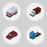 Isometric Car Set Of First-Aid, Truck, Freight And Other Vector Objects. Also Includes Lorry, Car, Motor Elements. Isometric Car Set Of First-Aid, Truck Stock Images