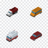 Isometric Car Set Of Freight, Car, First-Aid And Other Vector Objects. Also Includes Ambulance, Freight, Sedan Elements. Isometric Car Set Of Freight, Car Stock Photos