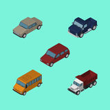 Isometric Car Set Of Suv, Freight, Autobus And Other Vector Objects. Also Includes Truck, Car, Auto Elements. Isometric Car Set Of Suv, Freight, Autobus And Stock Image