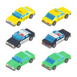 Isometric car taxi police. Royalty Free Stock Photo