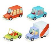 Isometric Car Vehicle Transport Icons Set Design Stylish Retro Cartoon Flat Design Vector Illustration Royalty Free Stock Photography