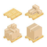Isometric Cardboard Boxes And Pallets. Royalty Free Stock Image