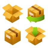 Isometric cardboard boxes set icons. Delivery and free return of gifts or parcels Vector Illustration