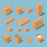 Isometric cardboard boxes. Vector isometric cardboard box set. Collection of isometric cardboard boxes of different types - open box, closed box, boxes with a Stock Photography