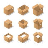Isometric cardboard boxes. Vector isometric cardboard box set. Collection of isometric cardboard boxes of different types - open box, closed box, boxes with a Stock Images