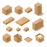 Isometric cardboard boxes. Vector isometric cardboard box set. Collection of isometric cardboard boxes of different types - open box, closed box, boxes with a Royalty Free Stock Photos