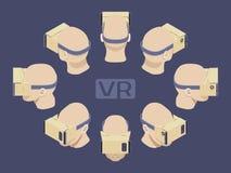 Isometric cardboard virtual reality headset Stock Photos