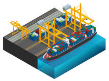 Isometric Cargo containers transshipped between transport vehicles for onward transportation Port warehouse and shipment Royalty Free Stock Photos