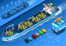 Isometric Cargo Ship with Containers  in Front View Stock Images