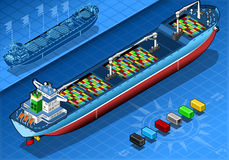 Isometric Cargo Ship with Containers in Rear View vector illustration