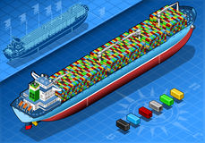 Isometric Cargo Ship with Containers  in Rear View Stock Photos
