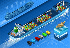 Isometric Cargo Ship with Containers in Rear View Royalty Free Stock Photos