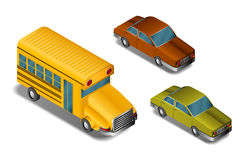 Isometric cars- vector Royalty Free Stock Photo