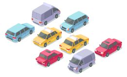 Isometric cars vector illustration isolated icons of taxi, minivan private passenger or armored car. Isometric cars vector illustration isolated icons of private Vector Illustration