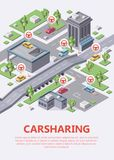 Isometric carsharing map illustration 3d of car sharing or carpool service parking location infographic stock illustration