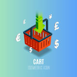 Isometric cart icon with currency. Vector illustration. Stock Photo