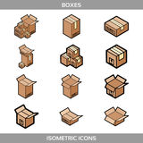 Isometric carton packaging boxes set in flat style with postal signs this side up fragile Royalty Free Stock Images