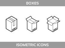 Isometric carton packaging boxes set in line art style with postal signs this side up fragile vector Stock Photo