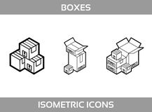 Isometric carton packaging boxes set in line art style with postal signs this side up fragile vector Royalty Free Stock Image