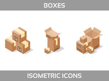 Isometric carton packaging boxes set in three styles with postal signs this side up fragile Royalty Free Stock Photography