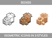 Isometric carton packaging boxes set in three styles with postal signs Stock Photos