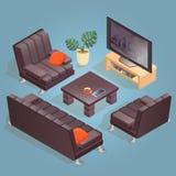 Isometric cartoon armchair, TV,  icon isolated on blue. Isometric cartoon sofa, armchair, TV and table icon isolated on blue. Couch and chair with dark Royalty Free Stock Photos