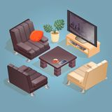 Isometric cartoon armchair, TV,  icon isolated on blue. Isometric cartoon TV, armchair and table icon isolated on blue. Chairs with white and dark upholstery Stock Images